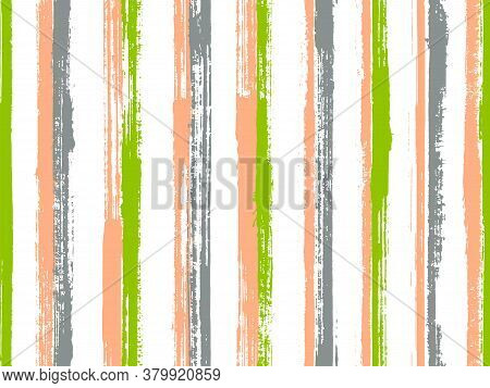Watercolor Handdrawn Rough Stripes Vector Seamless Pattern. Handmade Summer Fashion Design. Old Styl