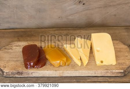 Sweet Potato And Quince Cheese And Sweet. Traditional Dessert Of Uruguayan And Argentine Gastronomy