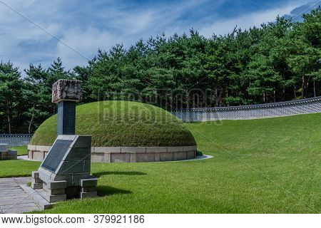 Geumsan, South Korea; July 21, 2020: For Editorial Use Only. Large Burial Mound At The Tomb Of 700 P