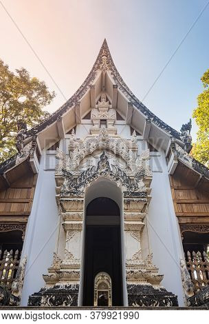 Phayao, Thailand - Dec 1, 2019: Thai Wood Church In Analayo Temple Or Wat Analayo In Forest With Nat
