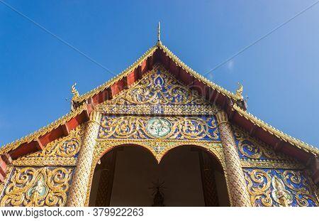 Phayao, Thailand - Dec 31, 2019: Front Thai Church Of Wat Phra Nang Din Or Phra Nang Din Temple At C