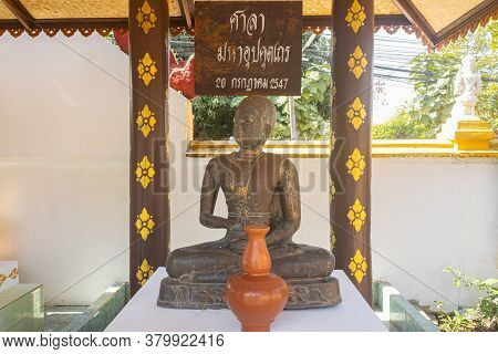 Phayao, Thailand - Dec 31, 2019: Upagupta Buddhist Monk Statue In San Mueng Ma Temple Or Wat San Mue