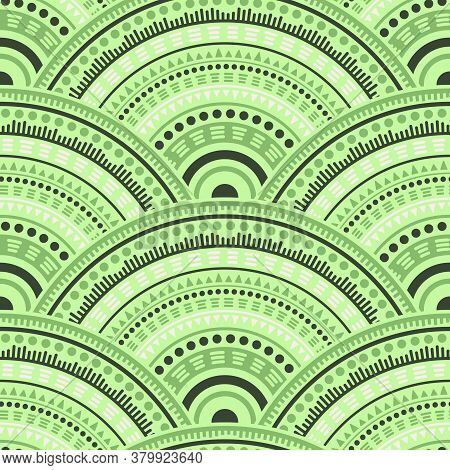 Chinese Medallions Mosaic Fabric Print Vector Seamless Pattern. Folk Motifs Wavy Repeating Illustrat
