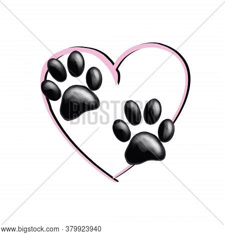 Isolated Paws On Pink Heart Background. Good For Textile, Fabric, Zoo Shops Advertising, Wrapping Pa