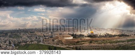 Beautiful Panoramic Aerial View Of The Old City, Tomb Of The Prophets And Dome Of The Rock. Dramatic