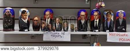 Russia, St. Petersburg, 23,07,2017 Matryoshka Dolls With A Picture Of Putin In A Souvenir Shop