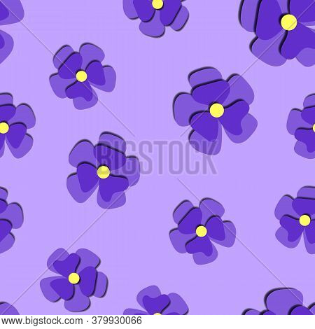 Paper Cut Cute Pansy Flower In Paper Art Style On Violet Background Seamless Pattern. Origami Style
