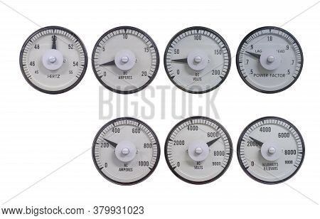 Set Of Analog Meter For Measuring Electric Volt, Amp, Power, Frequency And Power Factor For Monitor