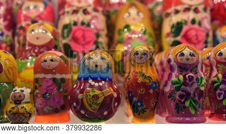 Russia, Kronshtadt 27,05,2018 Souvenirs With Russian Symbols In Souvenir Shop For Tourists, Matryosh