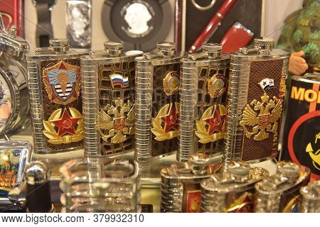 Russia, Kronshtadt 27,05,2018 Souvenirs With Russian And Soviet Symbols In The Souvenir Shop For Tou