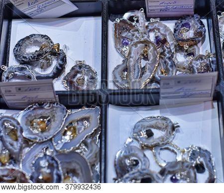 Russia, St. Petersburg 08,03,2015 A Variety Of Semi-precious Stones At The Exhibition