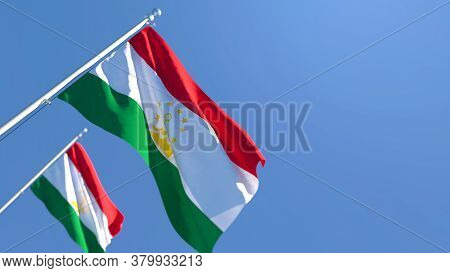 3d Rendering Of The National Flag Of Tajikistan Waving In The Wind