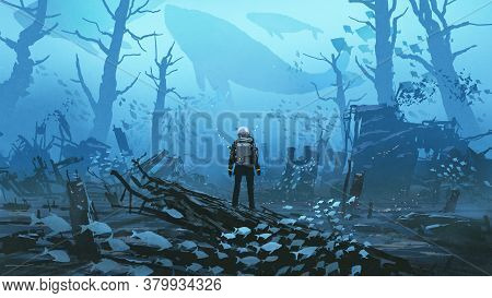 Under Water Scene Of The Futuristic Diver Standing In A Submerged Town, Digital Art Style, Illustrat