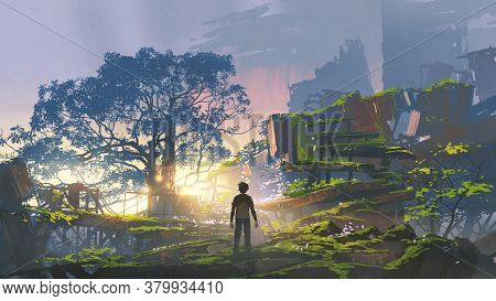 Young Man Standing In The Overgrown City At Sunset, Digital Art Style, Illustration Painting