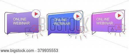 Webinar Concept, Online Distance Communication. Live Online Webinar Icons.
