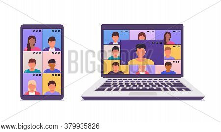 Colleagues Talk To Each Other On The Screen Of A Laptop, Smartphone. Remote Work Via Teleconference,