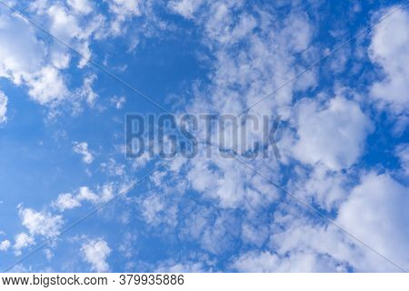 Background From Clouds. Beauty Nature. Blue Sky Clear View. Atmosphere, Heavenly. Soft Focus Backgro