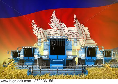Industrial 3d Illustration Of Some Blue Farming Combine Harvesters On Rye Field With Cambodia Flag B