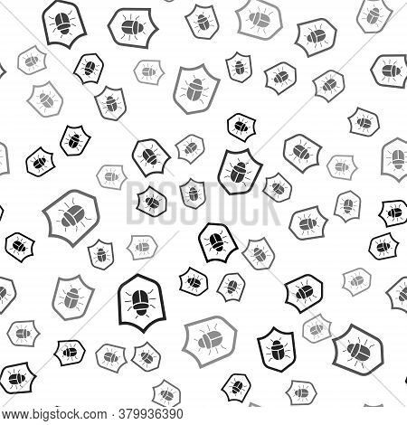 Black System Bug Concept Icon Isolated Seamless Pattern On White Background. Code Bug Concept. Bug I