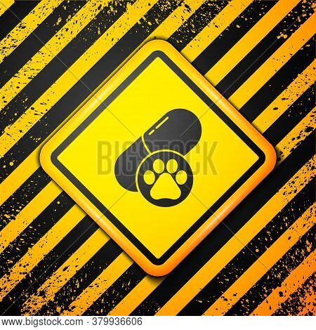 Black Dog Pill Icon Isolated On Yellow Background. Prescription Medicine For Animal. Warning Sign. V