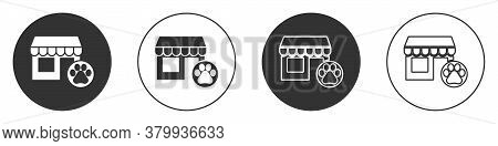 Black Veterinary Medicine Hospital, Clinic Or Pet Shop For Animals Icon Isolated On White Background