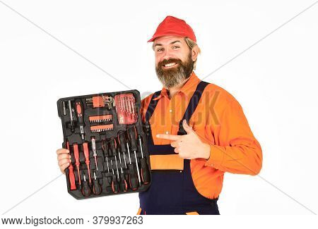 Handyman Concept. Screwdrivers Set. Man Carries Toolbox White Background. Worker Repairman Handyman