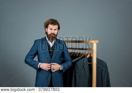 My Choice. Handsome Bearded Fashion Man In Classical Costume Suit. Man In Custom Tailored Suit Prese