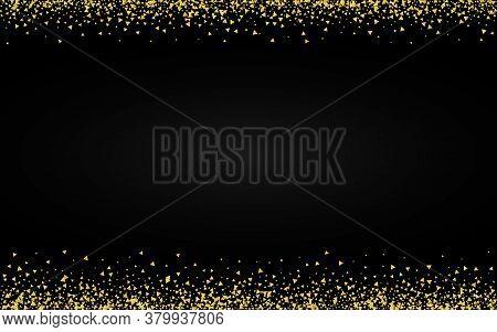 Gold Glow Effect Black Background. Light Shards Card. Yellow Sequin Anniversary Wallpaper. Shard Bri