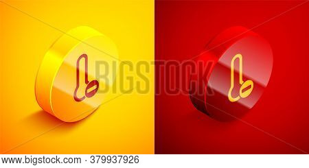 Isometric Meteorology Thermometer Measuring Icon Isolated On Orange And Red Background. Thermometer