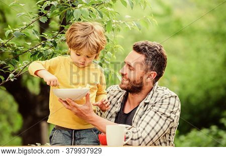 Menu For Children. Family Enjoy Homemade Meal. Father Son Eat Food And Have Fun. Nutrition Habits. L