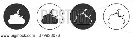 Black Cloud With Moon Icon Isolated On White Background. Cloudy Night Sign. Sleep Dreams Symbol. Nig