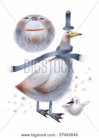 bird snowman