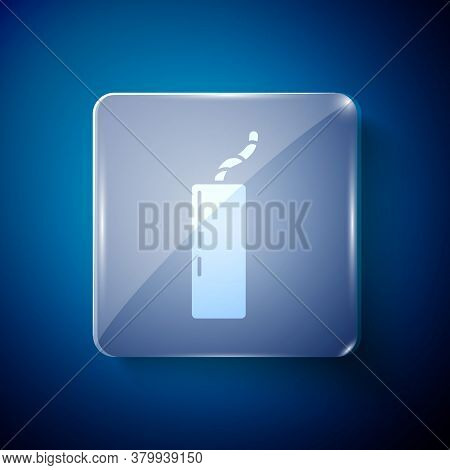 White Detonate Dynamite Bomb Stick And Timer Clock Icon Isolated On Blue Background. Time Bomb - Exp