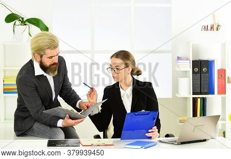 Man And Woman Boss Manager Director. Business Couple Working. Couple Work In Office. Law Consultatio