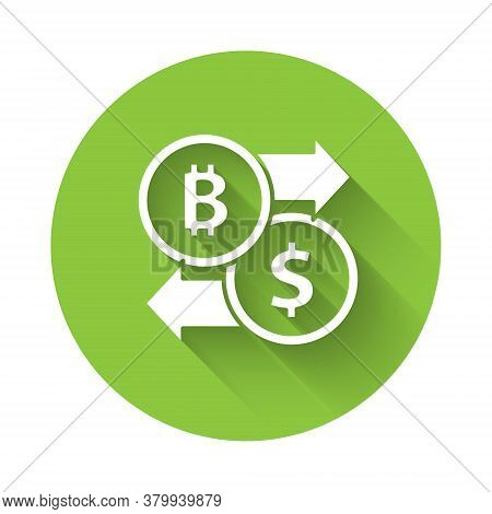 White Cryptocurrency Exchange Icon Isolated With Long Shadow. Bitcoin To Dollar Exchange Icon. Crypt