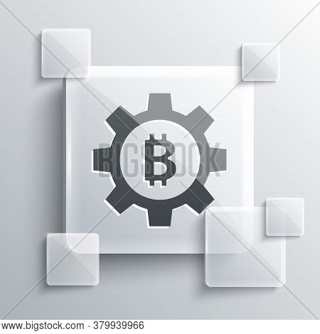 Grey Cryptocurrency Coin Bitcoin Icon Isolated On Grey Background. Gear And Bitcoin Setting. Blockch