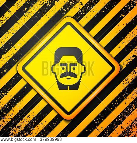 Black Portrait Of Joseph Stalin Icon Isolated On Yellow Background. Warning Sign. Vector