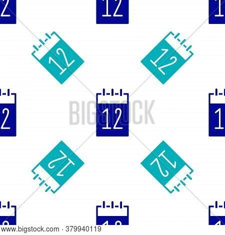 Blue Calendar 12 June Icon Isolated Seamless Pattern On White Background. Russian Language 12 June H