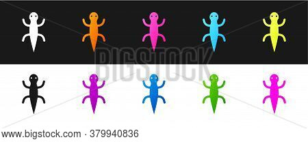 Set Lizard Icon Isolated On Black And White Background. Vector
