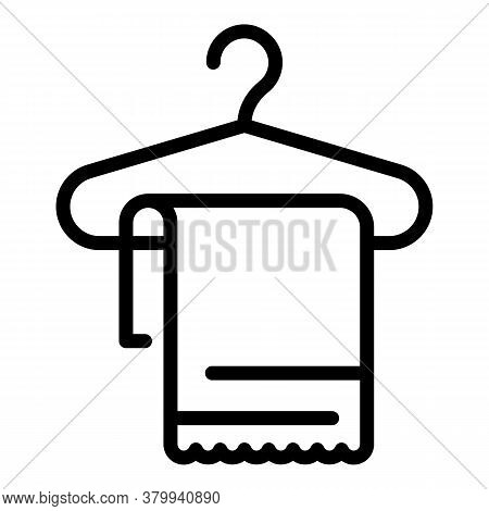 Towel On Hanger Icon. Outline Towel On Hanger Vector Icon For Web Design Isolated On White Backgroun