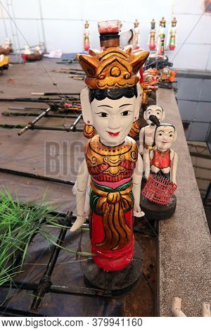 Hoi An, Vietnam, February 24, 2020: Colorful Puppets Made Of Fig Tree Wood At Hoi An Water Puppet Th