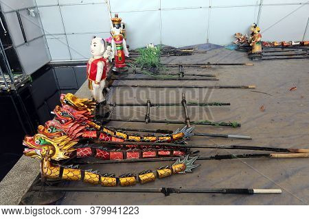 Hoi An, Vietnam, February 24, 2020: Different Hand-built Puppet Models With Fig Tree Wood And Bamboo