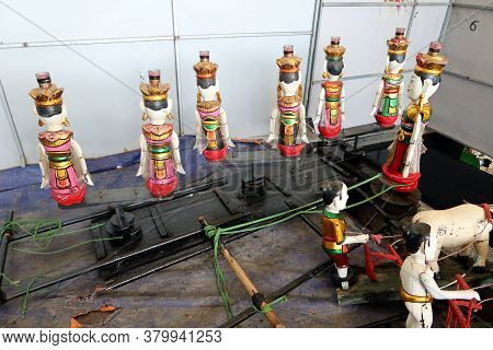 Hoi An, Vietnam, February 24, 2020: Rear View Of Different Hand-built Puppet Models From Fig Tree Wo