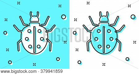 Black Line Mite Icon Isolated On Green And White Background. Random Dynamic Shapes. Vector