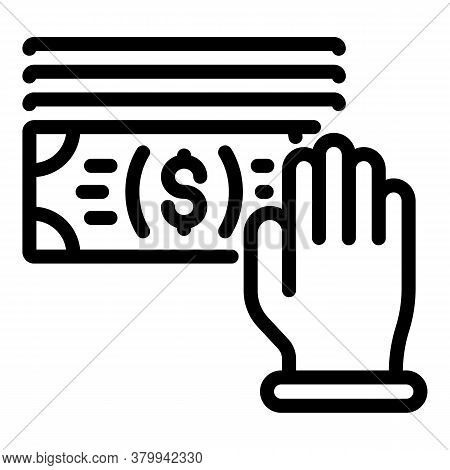 Hand Subsidy Icon. Outline Hand Subsidy Vector Icon For Web Design Isolated On White Background