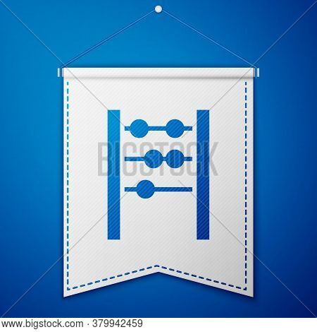 Blue Abacus Icon Isolated On Blue Background. Traditional Counting Frame. Education Sign. Mathematic