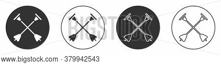 Black Arrow With Sucker Tip Icon Isolated On White Background. Circle Button. Vector