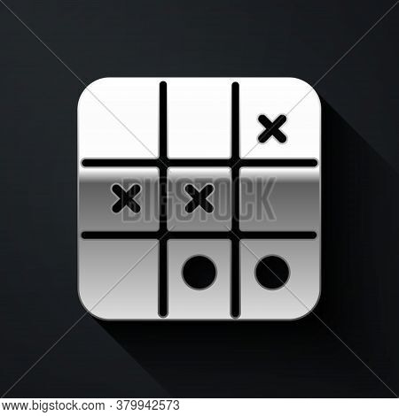 Silver Tic Tac Toe Game Icon Isolated On Black Background. Long Shadow Style. Vector