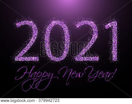 Violet 2021 Happy New Year Vector Banner. Confetti Particles Calligraphic Font. Happy New Year Wishe