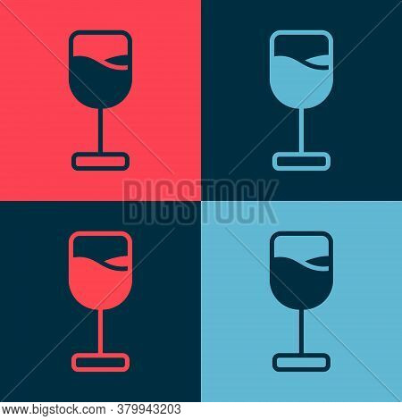 Pop Art Wine Glass Icon Isolated On Color Background. Wineglass Icon. Goblet Symbol. Glassware Sign.